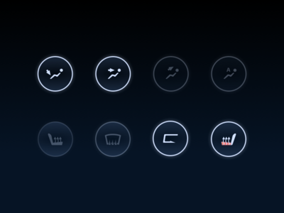 Day 20 - Climate Control Icons tesla climate control glow hmi buttons icons hvac ui car