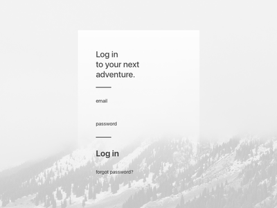 Day 21 - Login screen typography android ios bnw travel password black and white minimal ux login ui