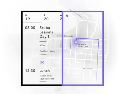 Day 26 - Vacation Planner events calendar navigation route map minimal typography ux ui