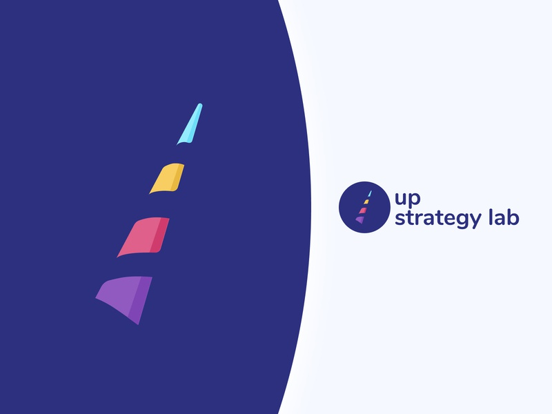Up Strategy Lab logo user centered growth hacking upstrategylab founders horn unicorn lgbt startup logo laboratory strategy design
