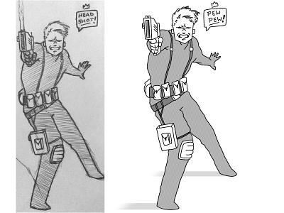 Pew Pew design character art digital illustration drawing sketch soldier agent shot gun pew