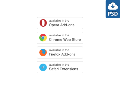 Extensions Buttons (Free PSD) extension browser opera safari firefox chrome available add-on free psd photoshop download