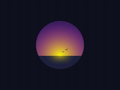 Sunset badge circle bird icon sunset