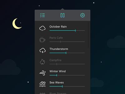 The evolution of the Noizio app UI for macOS sleep noiz.io dark theme night calm sounds mixer uidesign ui app noizio macos