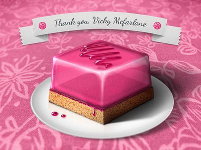Thank you for the invite! illustration dribbble invite thank you gift jelly cake vicky mcfarlane kir kovalski