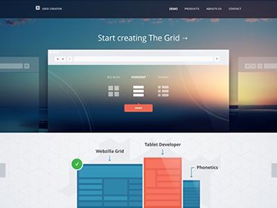 Grid Creator website layout ui ux web orange blue flat minimal clean grid creator icons