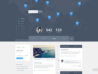 Travelling Map Wip website layout ui ux web blue flat minimal clean map travel pin marker icons