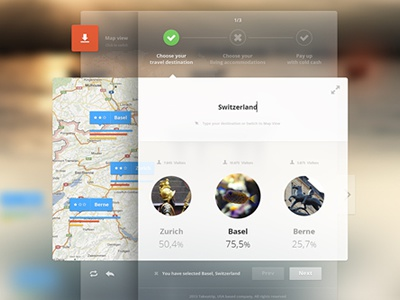 Holiday Selector ui ux layout widget web select blur buttons trip basel switzerland clean flat red blue