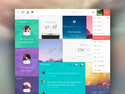 Panels Dashboard dashboard mail panels stats analytics flat gallery chat