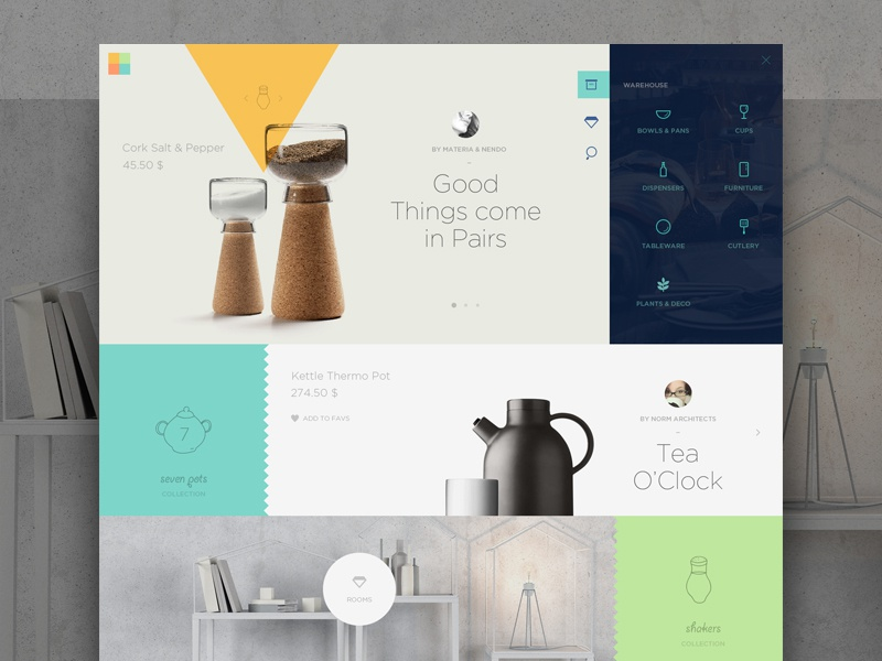 Warehouse website gallery flat clean layout navigation menu webdesign icons ui