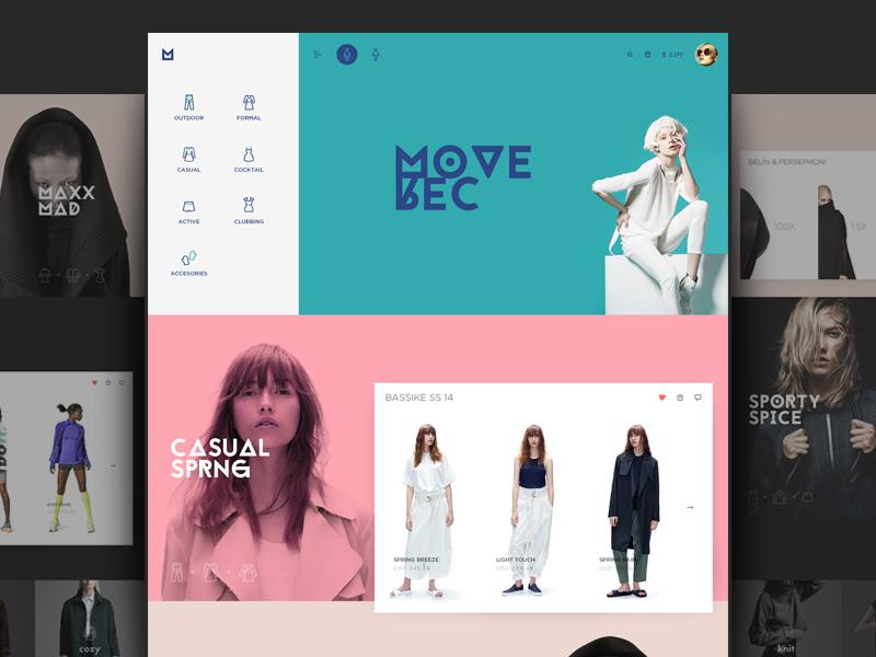 Moverec pink marketing landing photography fashion flat layout website