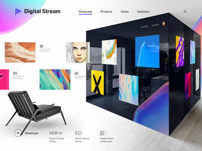 Digital Stream flow river scale human ui vr ar room smart wall gallery