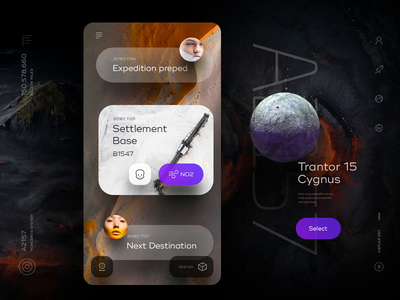 Planetary Explorer stats cards alien gallery explore map navigation moon ui chat app ship space mars planet