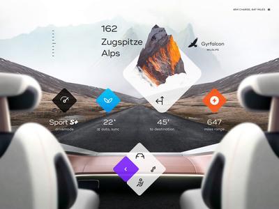 HoloDash sport battery map navigation menu controls settings gallery pilot auto electric hologram vr ar mountain road dashboard ui car