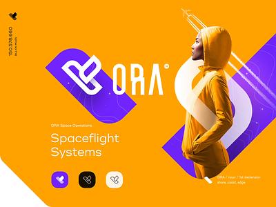 ORA Branding purple yellow intro web ui plane fly lettering type mark space branding logo