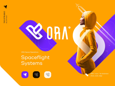 ORA Branding purple yellow intro web ui plane fly lettering type mark space branding logo