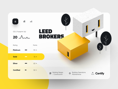 Leed Brokers web building build architecture design system rating enviroment energy menu graphic product app blink eye trees yellow green house home
