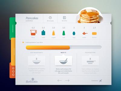 Get Cooking minimal clean ui ux cooking app pancake interface layout