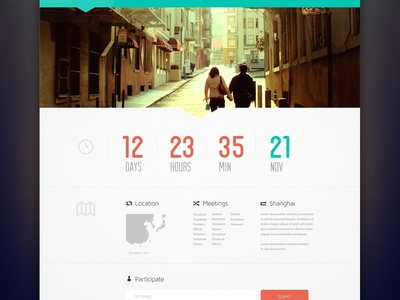 Scavenger Hunt timer green web flat clean minimal clock orange website layout ui ux travel