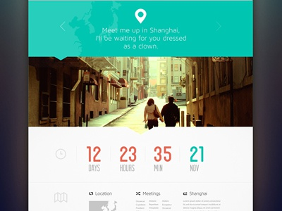 Scavenger Hunt timer green web flat clean minimal clock orange website layout ui ux travel