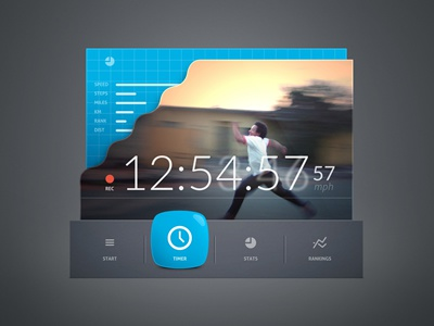 Speed Detector clean minimal ui ux layout interface app application widget clock countdown speed
