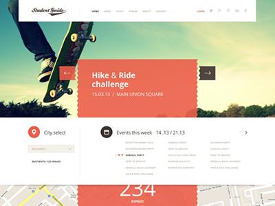 Student Guide website layout ui ux web orange students portal map navigation slider clean minimal webdesign flat
