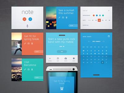 Easy Note ui ux layout interface app application widget flat clean minimal web note calendar reminder