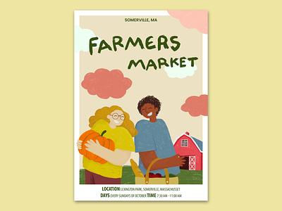 Farmers market in Somerville, MA branding drawing photoshop illustration procreate poster design graphic design