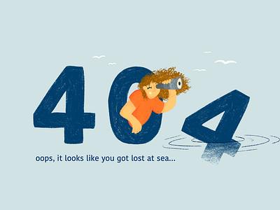404 error, lost at see website 404 error banner procreate design illustration graphic design