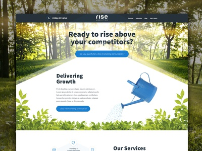 Rise Landing Page growth trees marketing angles one page landing page ui web design