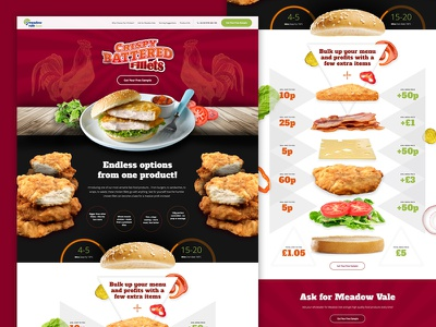 Meadow Vale Foods – Month 2 cocks food burger chicken parallax web design campaign landing page