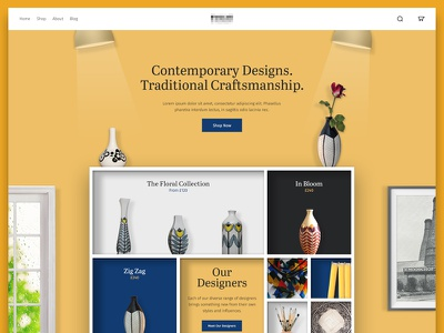 Ecommerce Pitch Design shelves pottery products ecommerce
