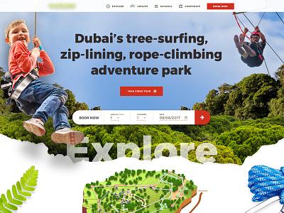 Adventure Park Concept homepage ui treetops ghaf trees theme park adventure dubai