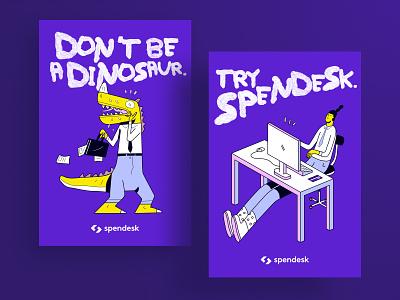 Spendesk - Don't be a dinosaur campaign spendesk zen modern versus stress vector illustration art finance illustration branding cfo fintech purple brand design campaign print print ad advertising