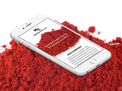 Master Coat One Page Website powder coating metal red wordpress modern black and white