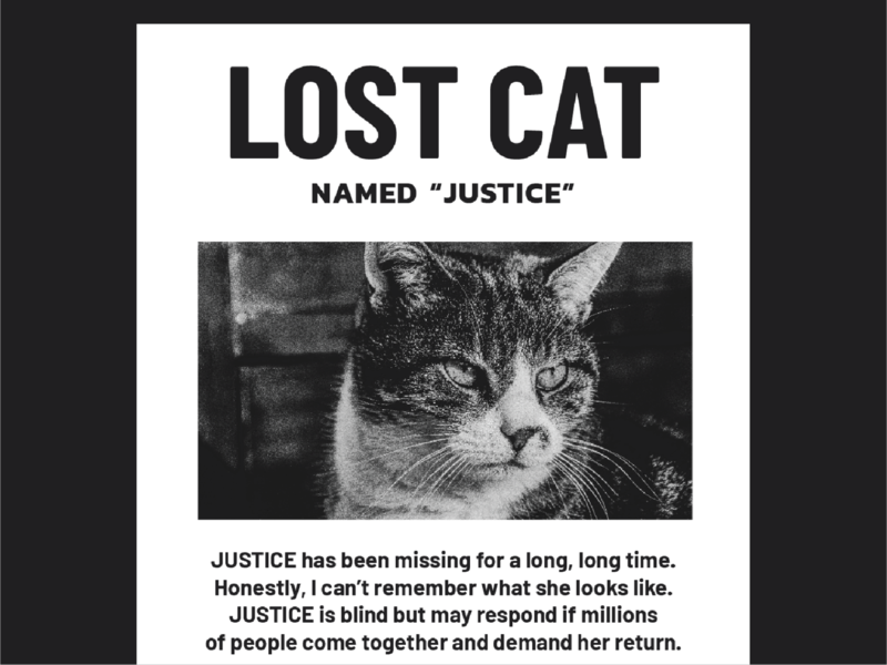pets of protest: lost justice acocuntability cops police print design neighborhood print missing lost cat apathy complacency suburbs justice poster