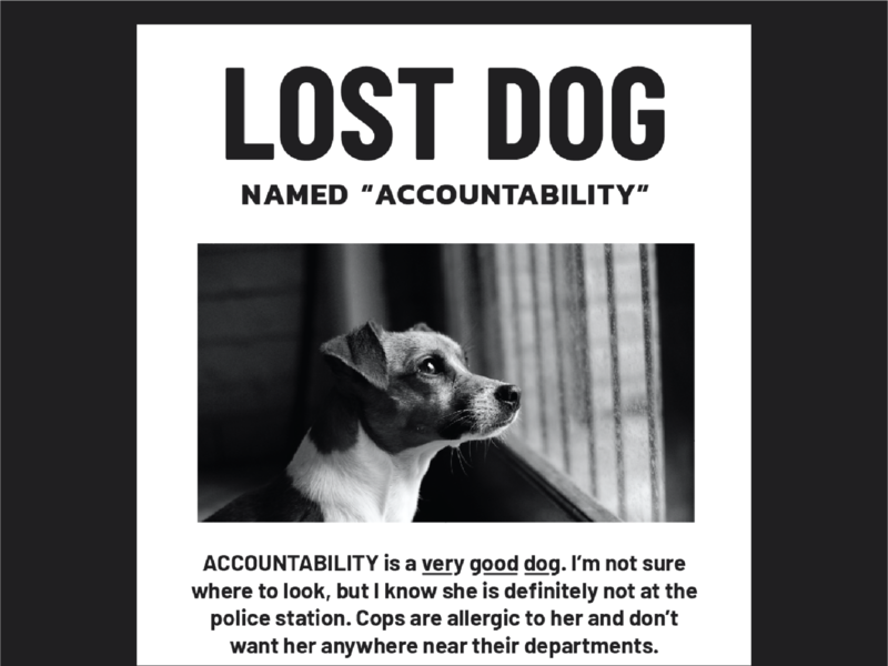 pets of protest: lost accountability neighborhood suburbs police pet justice murder lost dog poster print defund the police accountability