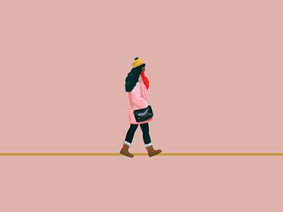City folk in autumn illustration