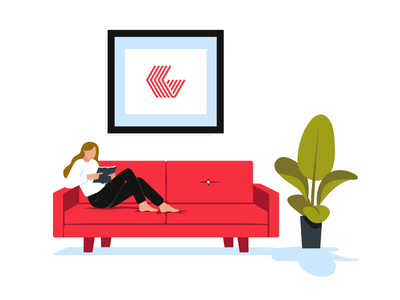 Column Five cozy reading indoor plant plant couch red couch lounge office break logo apartment column five
