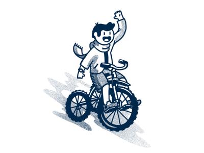 bike boi procreate funny fun scarf kid bike tricycle illustration