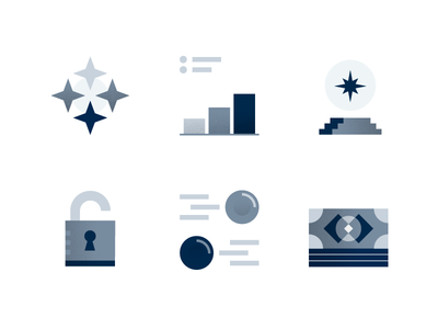 icon set for Colony.io part 1 block data charts stars payments finances money talent security finance black and white grey illustration icons corporate blockchain