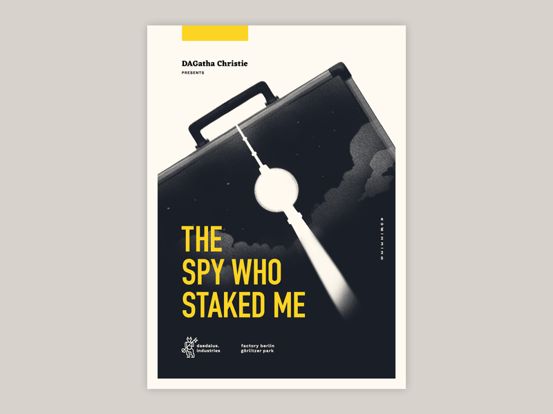 the spy who staked me version 1 print procreate bauhaus germany tv tower tower cover novel spy movie poster murder berlin briefcase agatha christie poster mystery escape room