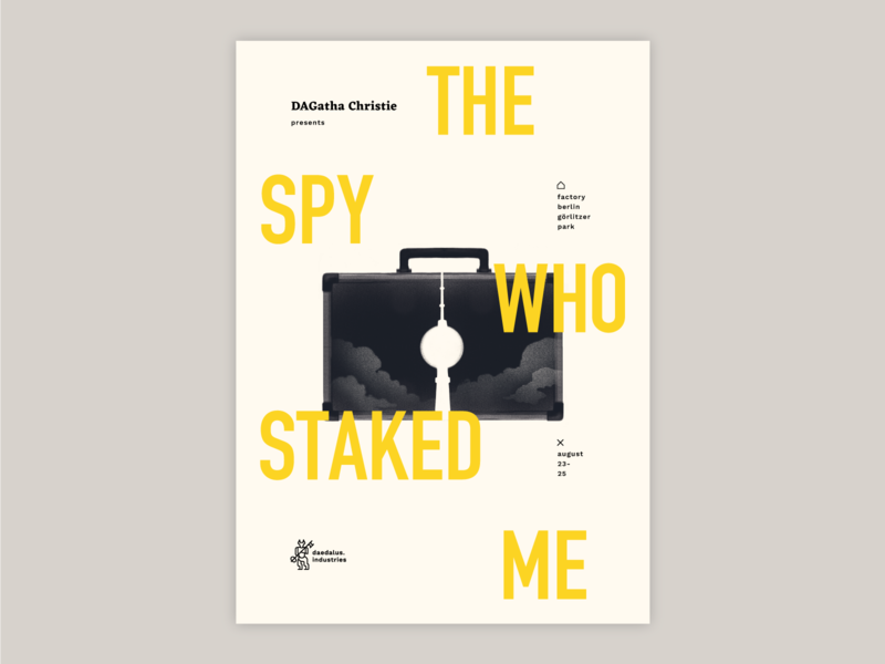 the spy who staked me version 2 yellow bauhaus tower germany berlin movie print poster power mystery crypto escape room spy