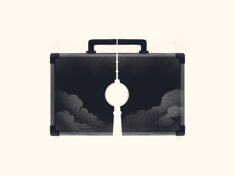 briefcase vector crypto cryptic murder drama bauhaus yellow black procreate illustration dramatic mystery spy germany tower berlin briefcase