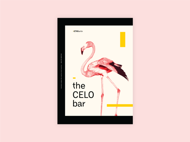 EthBerlin 2019 The CELO Bar gropius germany photo black yellow bauhaus animal poster design blockchain ethberlin pink flamingo berlin poster