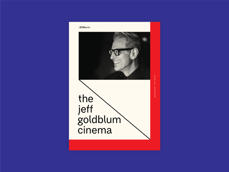 EthBerlin 2019 The Jeff Goldblum Cinema poster design poster blockchain black and white frame red bauhaus purple ethberlin berlin photo jeff goldblum