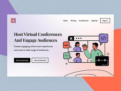 Virtual conferences typography colors branding vector ux ui design conferences video noise