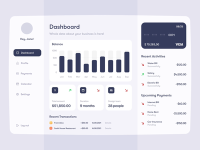 Finance dashboard transitions animation ui dashboard crm illustration typography colors branding vector ux design