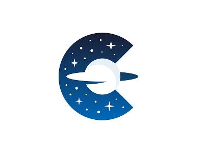 CreatorVerse - Logo Symbol nft stars star sky saturn planet letter c c grid brand identity branding design logo minimal clean