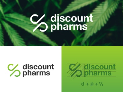 Discount Pharms branding percentage dp design logo minimal clean